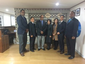 Hon Jone Usamate with the Sunny Korea Welfare Foundation senior officials after their meeting at the Fijian Embassy Office in Seoul.