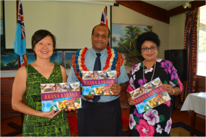 Minister for Health and Medical Services Mr Jone Usamate, Assistant Minister Mrs Veena Bhatnagar and Mrs Joanne Choy at the launch of the Khana Kakana cookbook.